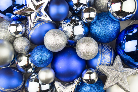 christmas baubles: Blue and silver Christmas balls for a christmas background Stock Photo