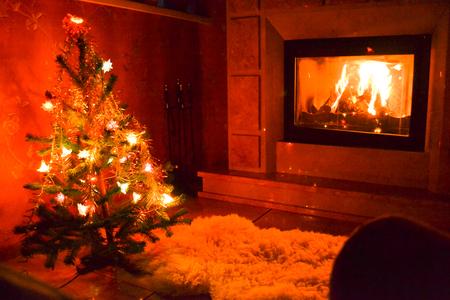 hearthside: Christmas living room Stock Photo