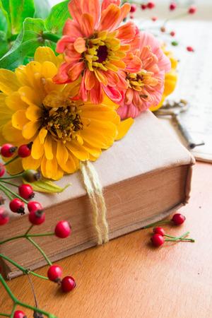 Old book with orange zinnia, key and autumn berries Foto de archivo