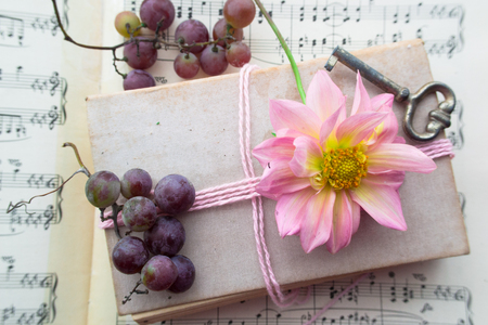 Old book with vintage key, grapes and pink flower on playing notes