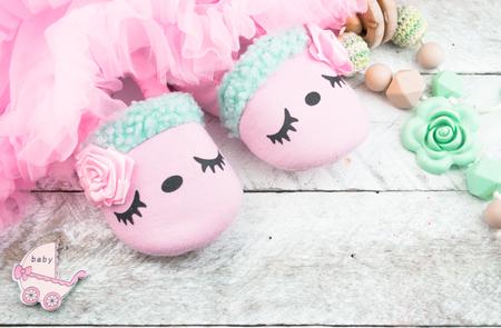 Pink baby girl shoes Foto de archivo