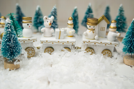 Toy train on white background for Christmas