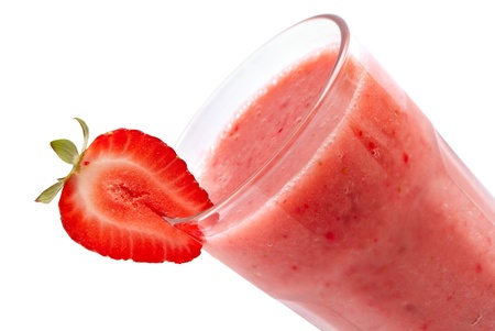 Cold strawberry smoothie  isolated on white 版權商用圖片