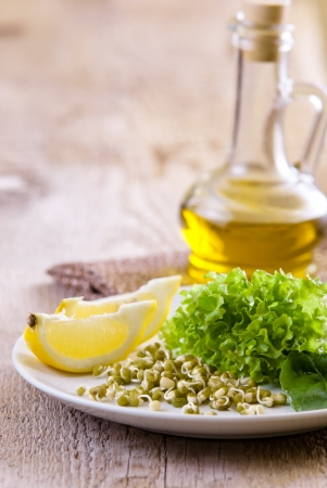 germinating: germinating seed mung with lemon and lettuce Stock Photo