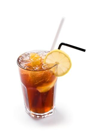 iced tea: Glass of iced tea isolated on white