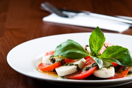 mozarella salad with pesto sauce and tomatoes