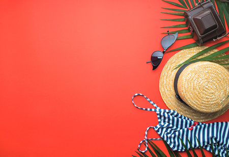 retro set of vacation on red background with copy space