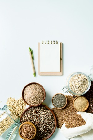 set of whole grain food for health lifestyle on white background with copy space 版權商用圖片