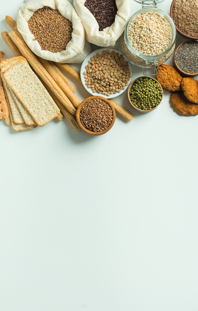 set of whole grain food for health lifestyle on white background with copy space Фото со стока