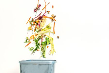 concept of recycling food lefts owers on white background with coppy space. the remnants of food in the bin Imagens