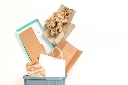 concept of recycling paper on white background with copy space Stock Photo