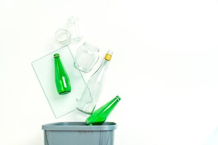 concept of recycling glass on white background with copy space Imagens