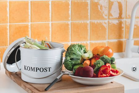 trash bin for composting with leftover in the kitchen with copy space Imagens
