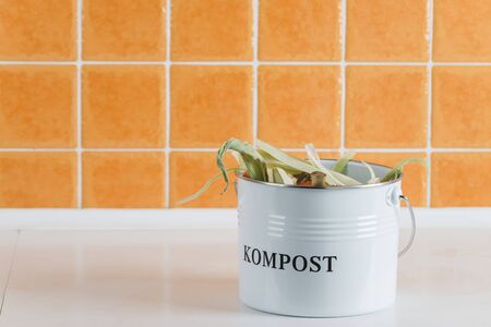 trash bin for composting with leftover in the kitchen with copy space Stock Photo