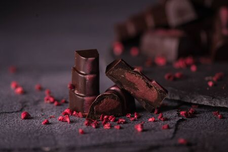 chocolate homemade candies with raspberry fillings