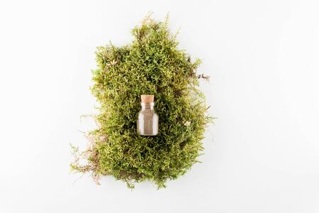concept of ecological cosmetics without plastic with copy space on white background