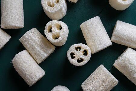 loofah sponge on a green background. ecological alternative to plastic sponges Reklamní fotografie