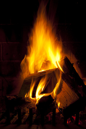 Flame of fire in darkness burning wood on fireplace photo
