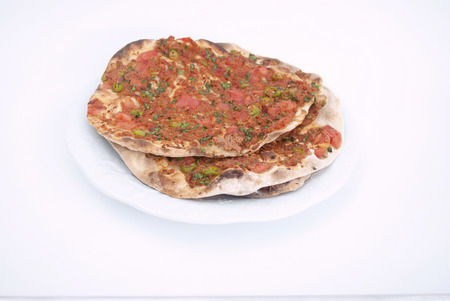 tomatto: Turkish Pizza   Lahmacun on Isolated Background