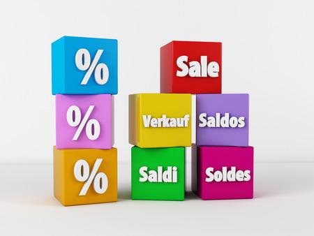 3d render of discount boxes Banco de Imagens