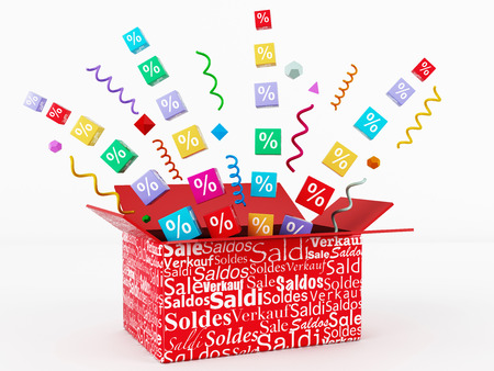 3d render of discount box photo