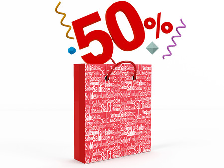 knave: 3d rendering of 50 percent in Sale Bag