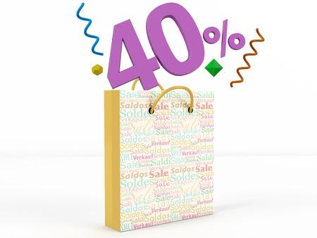 knave: 3d rendering of 40 percent in Sale Bag