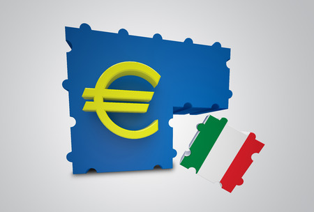 conjuncture: Puzzle showing Italy removed from the Euro Currency Union Stock Photo