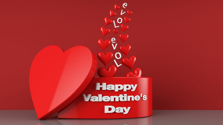 3d Render Of love and Valentines Day Gift Box photo