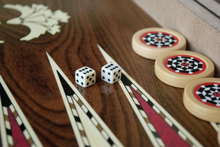 backgammon: Backgammon table and dice Stock Photo