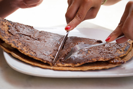 nutella: Sharing Crepes with Banana and Chocolate cream