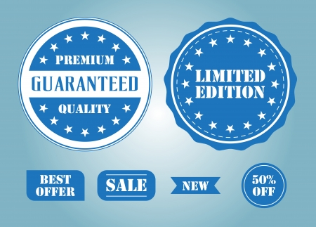 Set of blue labels and badges Vector