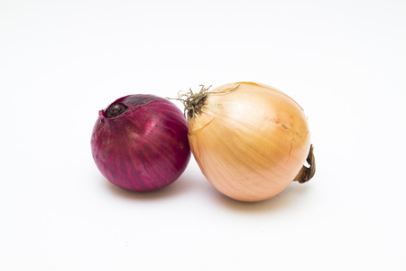 Red and yellow onion on white background photo