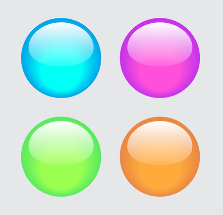 pink and green: Glossy blue, pink, green and orange glass buttons Illustration