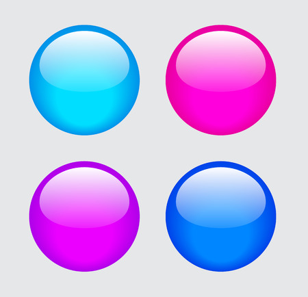glass buttons: Glossy blue, pink and purple glass buttons