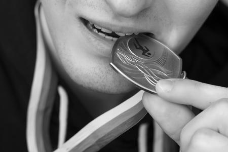 award background: Close-up of medal