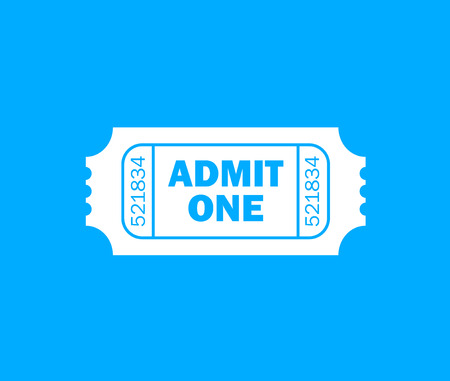 admit one: White retro cinema ticket and blue background - Admit one