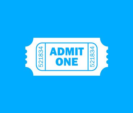 admit: White retro cinema ticket and blue background - Admit one