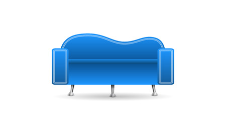 white sofa: Blue sofa isolated on a white background Illustration