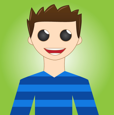 brown hair: Attractive and happy young boy - Cartoon boy with brown hair