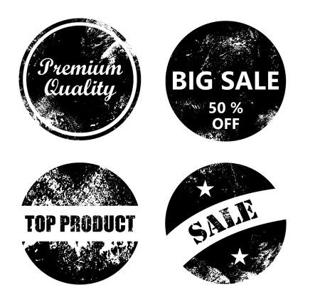 big top: Premium quality, Big sale, Top product, Sale - Vintage and scratched badge set