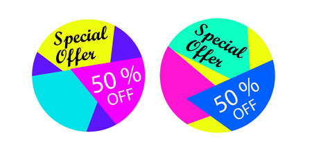 50 off: Abstract and colorful banners or labels. Special offer, 50 % off