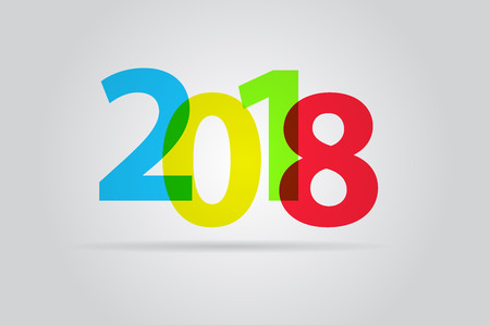 happy new year text: Happy new year 2018, colorful text Illustration