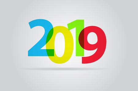 happy new year text: Happy new year 2019, colorful text Illustration