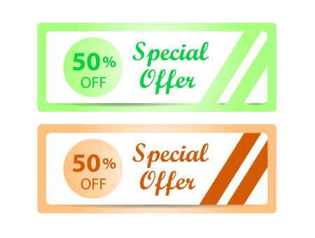 50  off: Banners or labels. Special offer 50 % off