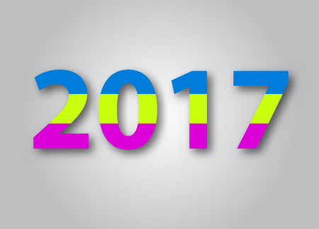 happy new year text: Happy new year 2017, colorful text. Illustration