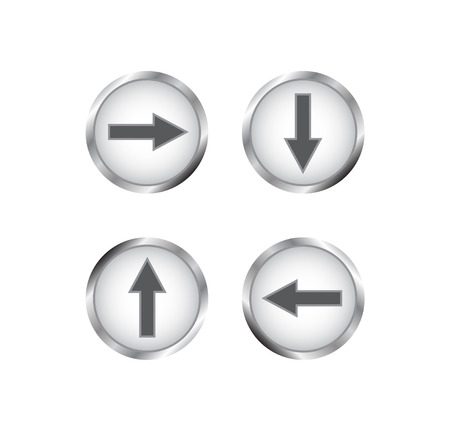 website buttons: Modern silver buttons with arrows. Creative buttons for website. Isolated on white background.
