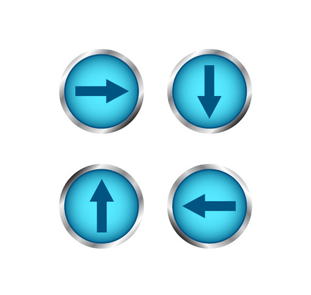 website buttons: Modern blue buttons with arrows. Creative buttons for website.  Isolated on white background.
