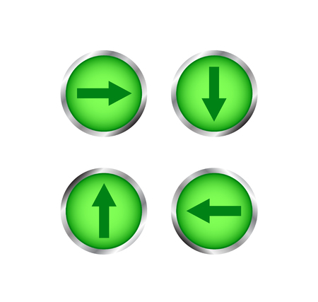 website buttons: Modern green buttons with arrows. Creative buttons for website. Isolated on white background. Illustration