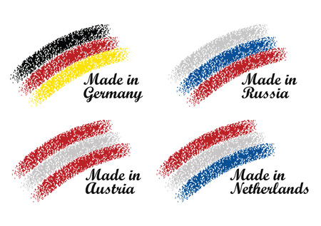 made russia: Made in Germany, Russia, Austria, Netherlands - Flags set Illustration